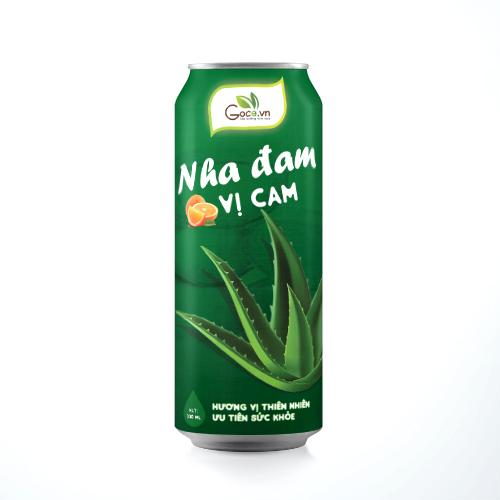 Nước Nha Đam Hương Cam Lon 330ml